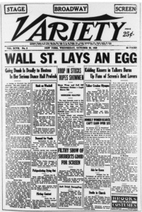 Headline from Variety newspaper. Wall Street Lays An Egg.
